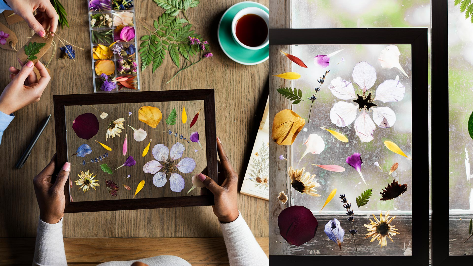 Wall Decor: Framed as pieces of art with flowers