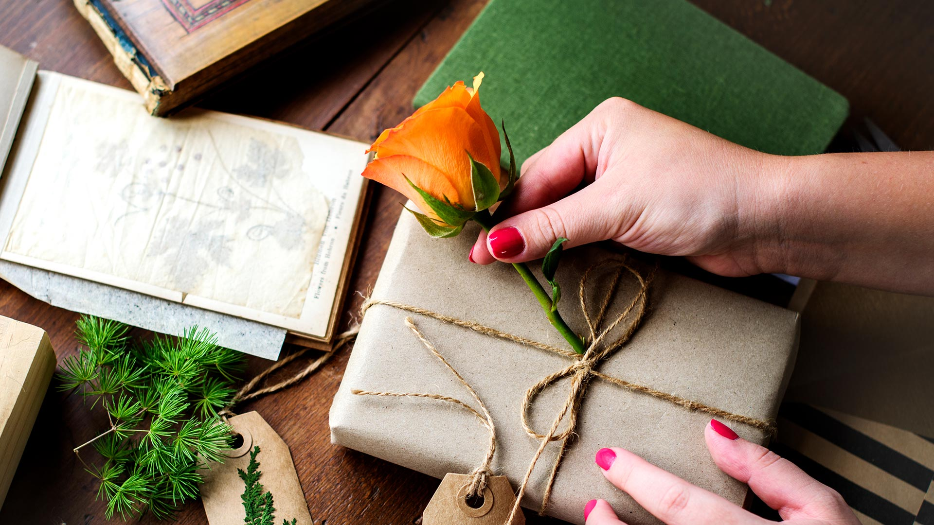 Using flowers for gift wrapping